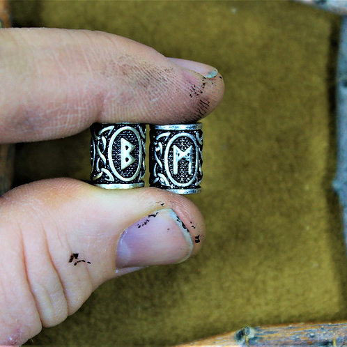Beard beads, with runes, set of two