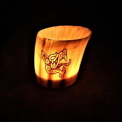 Horn canlde holder, Fenris wolf design, fits a tealight