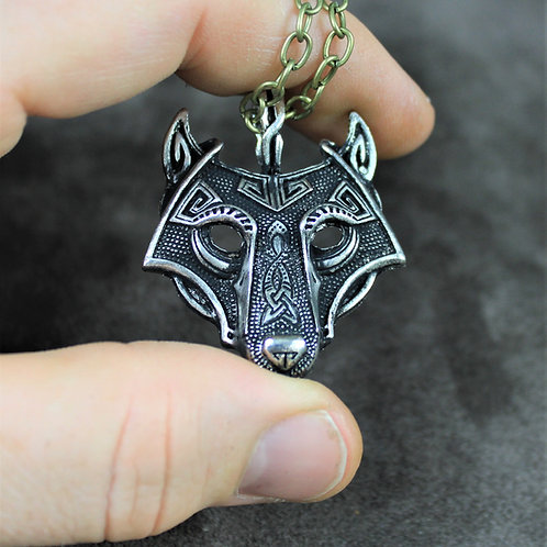 Fenris wolf necklace, Fenrir pendant on chain