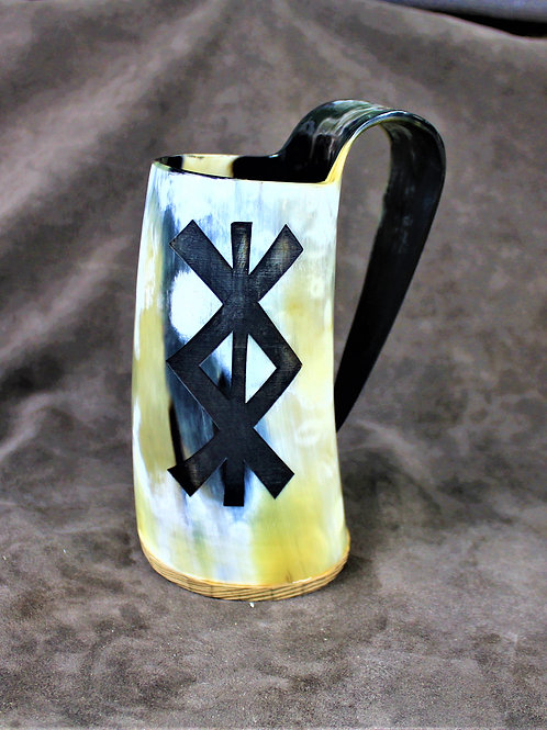 Drinking horn mug, carved with the bind rune for protection