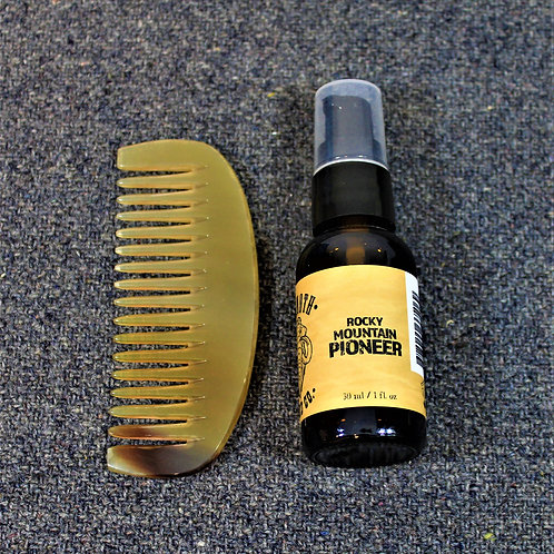 SALE - Mammoth beard oil and horn comb, Rocky Mountain Pioneer scent