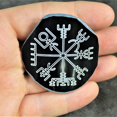 Large Vegvisir horn brooch, carved pin