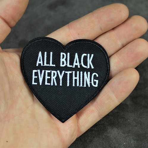 All black everything, iron on patch