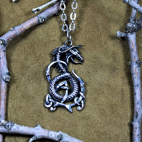 Fafnir, Viking serpent necklace, deluxe pendant on chain