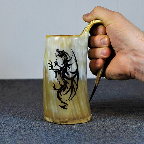 Dragon carved drinking horn mug