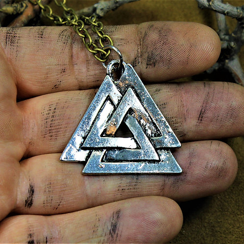 Large Valknut necklace, pendant and chain