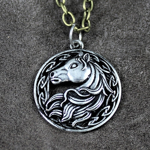 Celtic horse necklace, pendant on chain