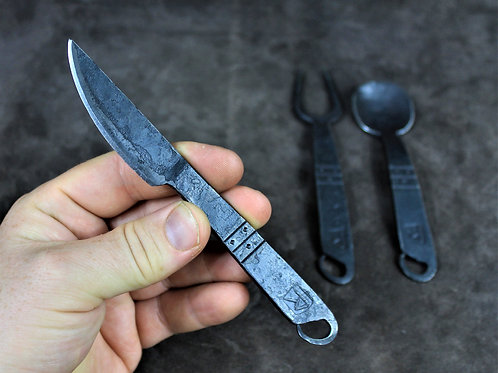 Hand forged 3 piece medieval eating set, cutlery, utensils