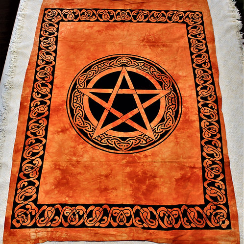 Pentagram Tapestry, orange, 100% cotton, hand made & hand dyed