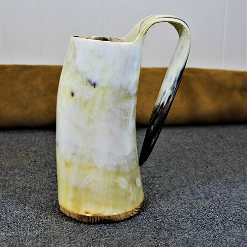 Drinking horn mug, white and yellow and black, gorgeous