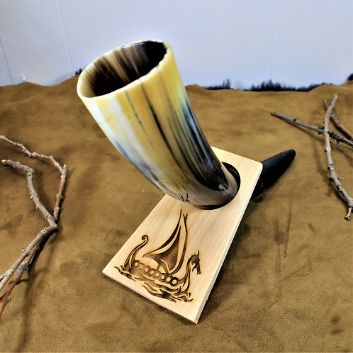 Viking long-ship, carved wooden drinking horn stand