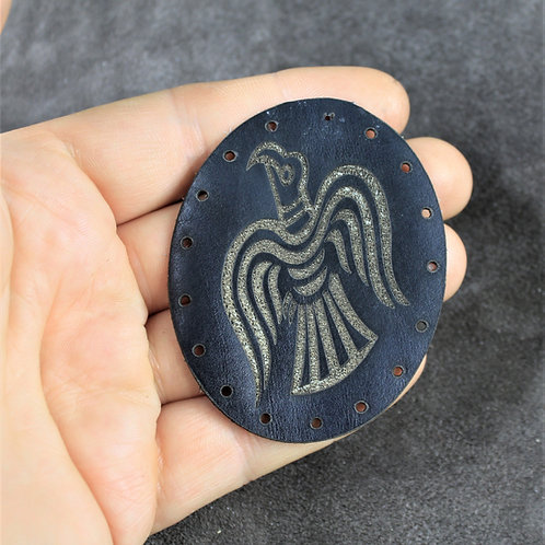 Viking raven patch, black leather sew on