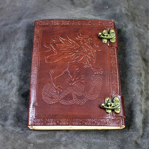Red leather grimoire, spellbook, artbook or journal, Griffin motif
