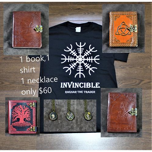 Moving sale surprise bag #4, shirt, book and horn talisman