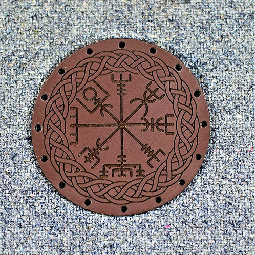 Brown leather Vegvisir patch, sew on runic compass