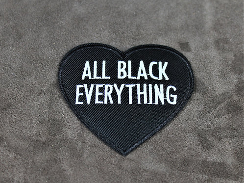 All black everything, iron on patch, heart shaped