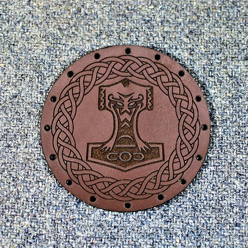 Carved leather Thors hammer patch