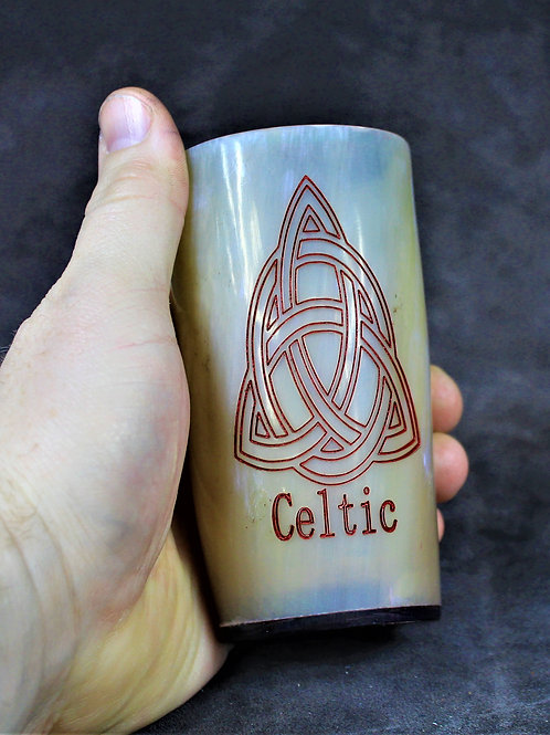 Celtic trinity knot carved drinking horn cup