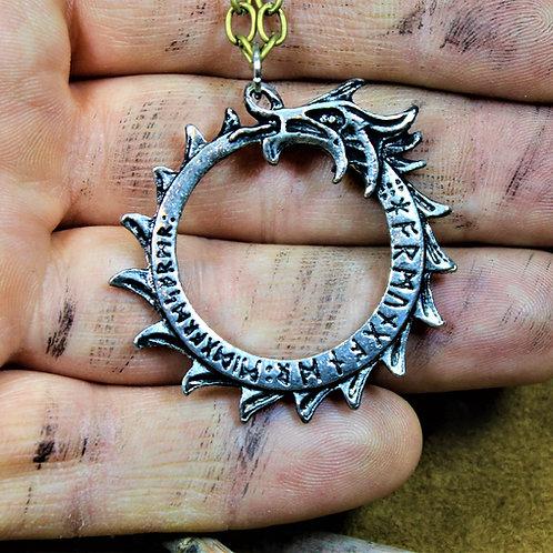 Viking ouroboros necklace, Jormungandr pendant on chain