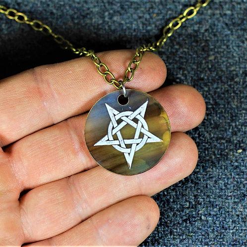 Inverted pentagram necklace, carved from horn