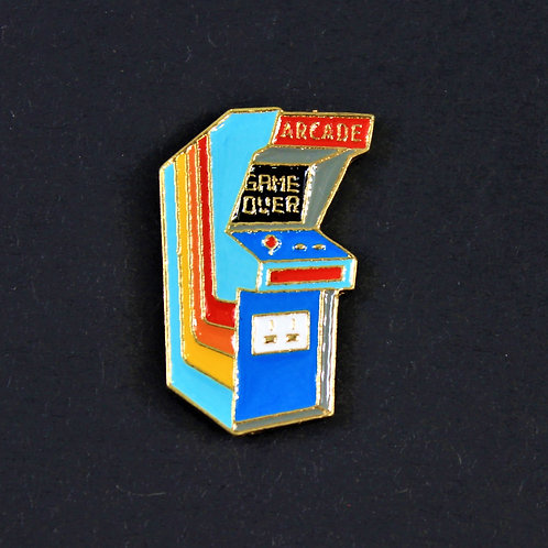 Game over pin, arcade machine, enameled metal
