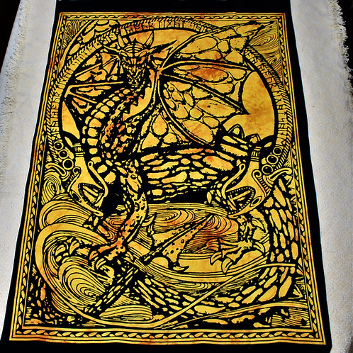 Fierce dragon tapestry, yellow, 100% cotton