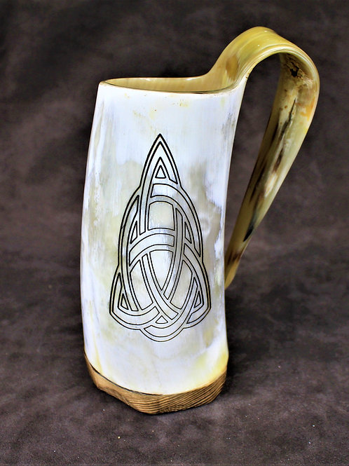 Celtic trinity knot carved drinking horn mug