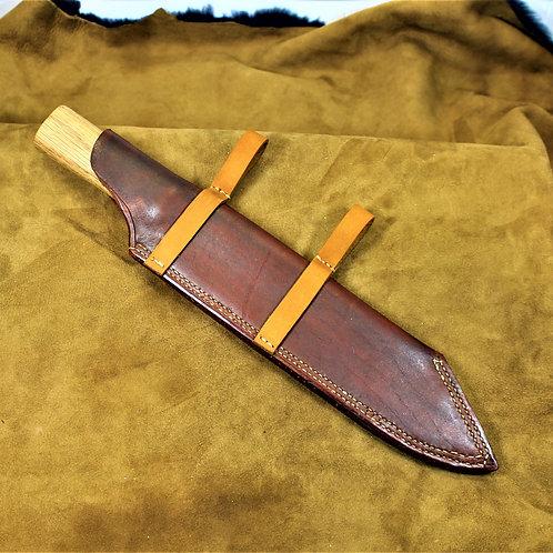 Hand forged, beefy seax, with handmade leather sheath