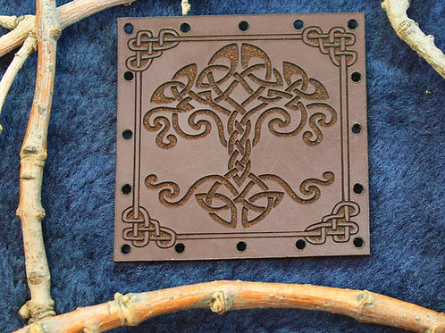 Viking tree, yggdrasil carved brown leather patch, sew on