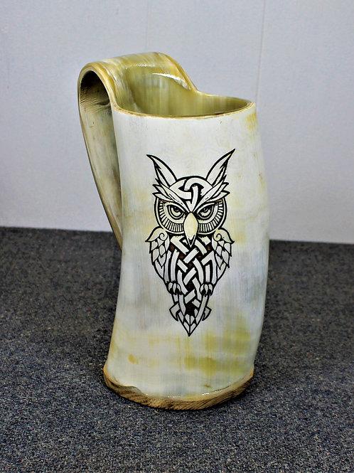 Carved drinking horn mug, celtic owl design