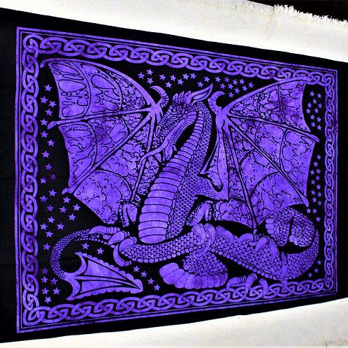 Proud dragon tapestry, royal purple colour