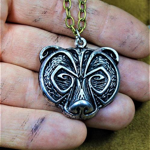 Viking bear necklace, berserker pendant on chain