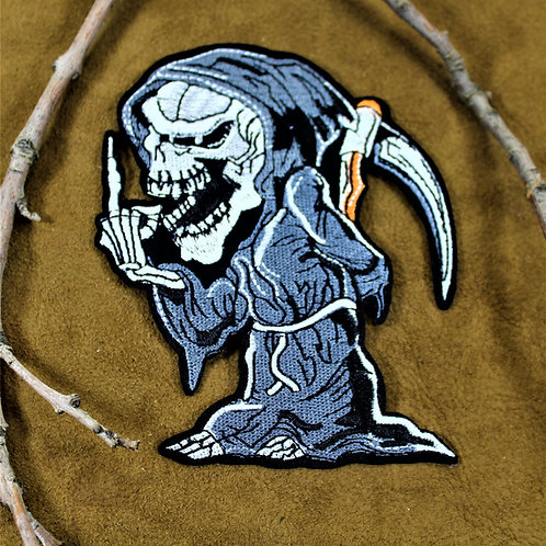 Grim Reaper middle finger iron on patch
