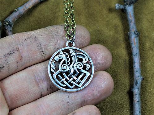 Odin riding Sleipnir necklace, pendant on chain