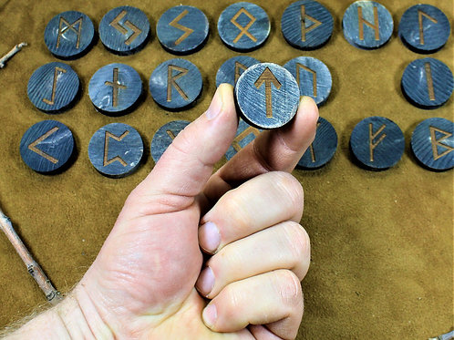 Viking runes, made of horn, the elder futhark, with leather bag