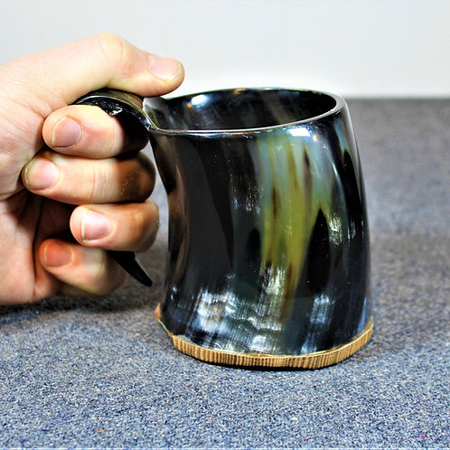 Krampus carved drinking horn mug, small, great for cocktails