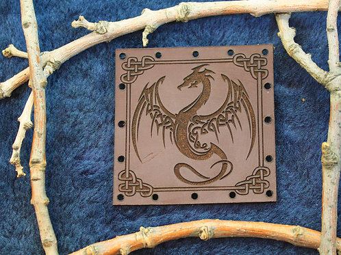 Dragon patch, carved leather sew on