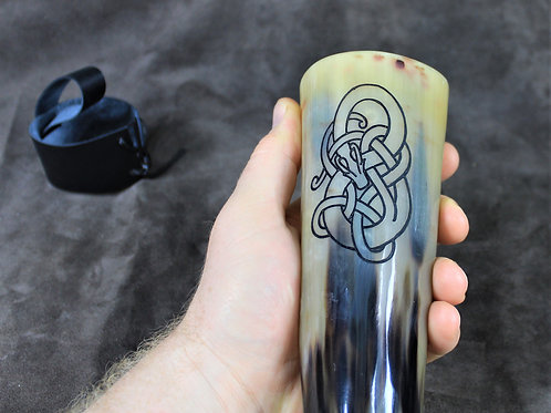Carved drinking horn, Viking serpent
