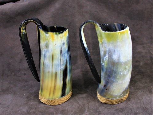 Drinking horn mugs, pair, set of two