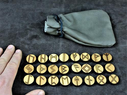 Round wood runes, Elder Futhark, with leather bag