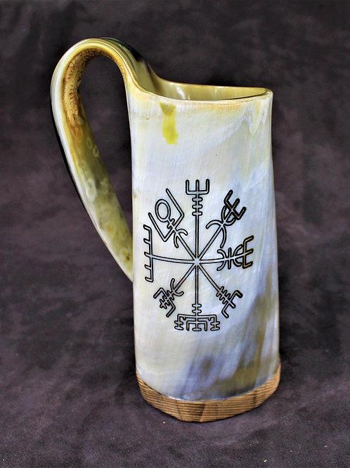 Carved Vegvisir drinking horn mug