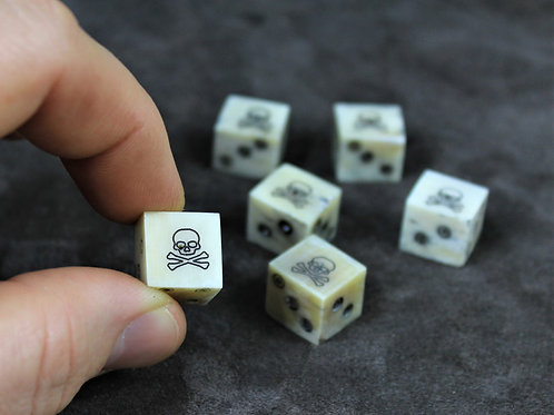 Bone dice, set of 6, with skull and crossbones instead of number one