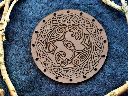 Huginn and Muninn, Odin's two ravens patch, brown leather