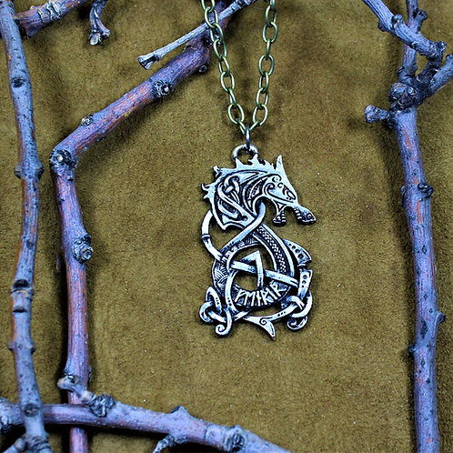 Fenrir necklace, Viking wolf pendant on chain