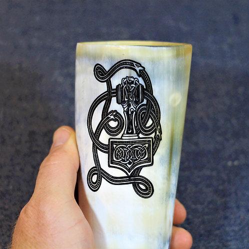 Thor's hammer - Mjolnir - carved drinking horn