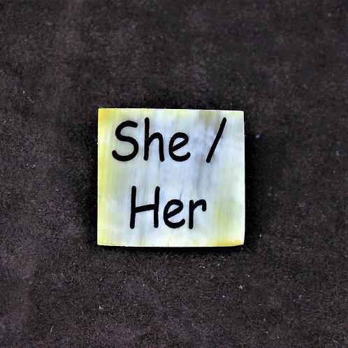 She / her horn pin, brooch
