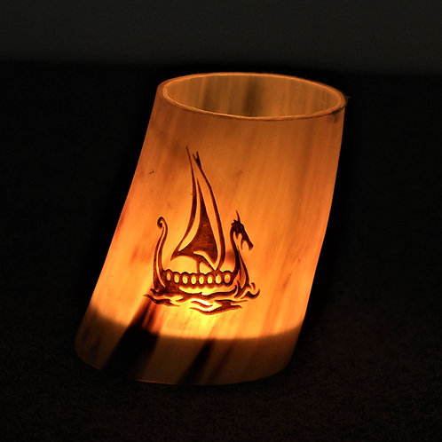 Horn canlde holder, Viking ship motif