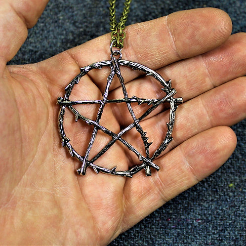 Extra large pentacle necklace, nature themed pendant on chain