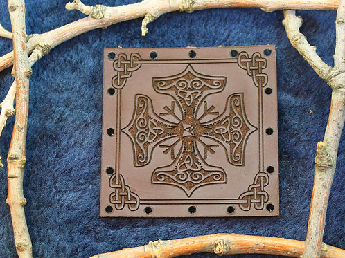Thor's hammer, carved brown leather protection patch