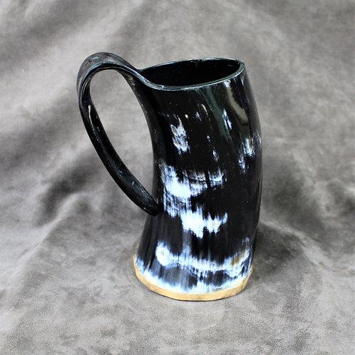 Large drinking horn mug, black and white